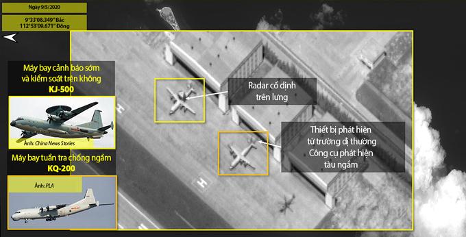 Các thiết bị quân sự của Trung Quốc triển khai trái phép ở đá Chữ Thập của Việt Nam. Ảnh: ISI.