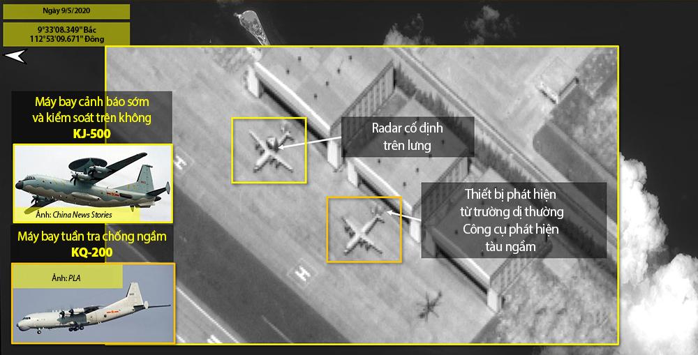Máy bay cảnh báo sớm và kiểm soát trên không KJ-500 và máy bay tuần tra chống ngầm KQ-200 do Trung Quốc triển khai trái phép ở đá Chữ Thập, thuộc quân đảo Trường Sa của Việt Nam, ngày 9/5. Ảnh: ISI.