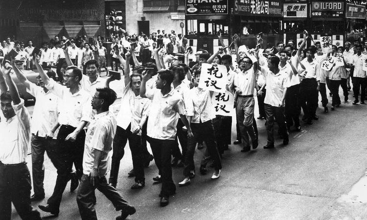 Biểu tình cánh tả tại Hong Kong hồi năm 1967. Ảnh: SCMP.