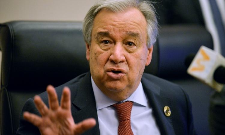Tổng thư ký Liên Hợp Quốc Antonio Guterres phát biểu tại cuộc họp ởAddis Ababa,Ethiopia, hôm 8/2. Ảnh: AFP.
