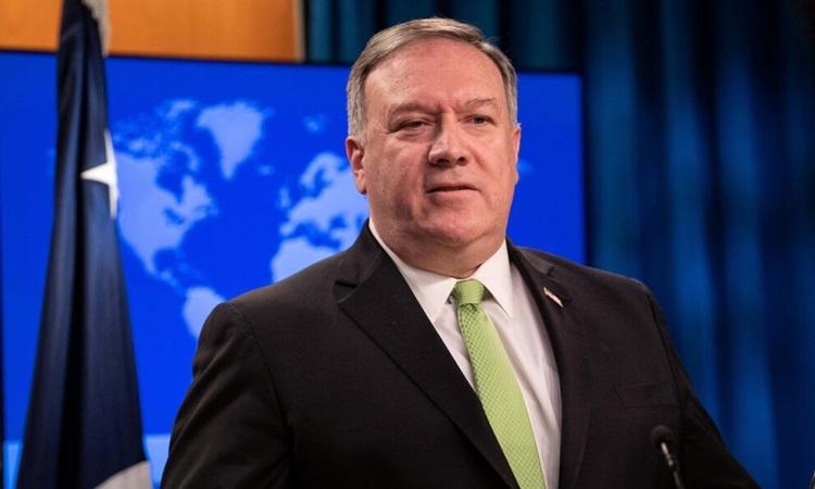 Ngoại trưởng Mỹ Mike Pompeo tại buổi họp báo ở Bộ Ngoại giao hôm 20/5. Ảnh: Reuters.