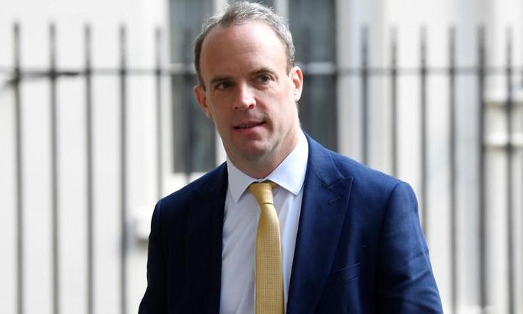 Ngoại trưởng Anh Dominic Raab tại London, ngày 11/5. Ảnh: Reuters.
