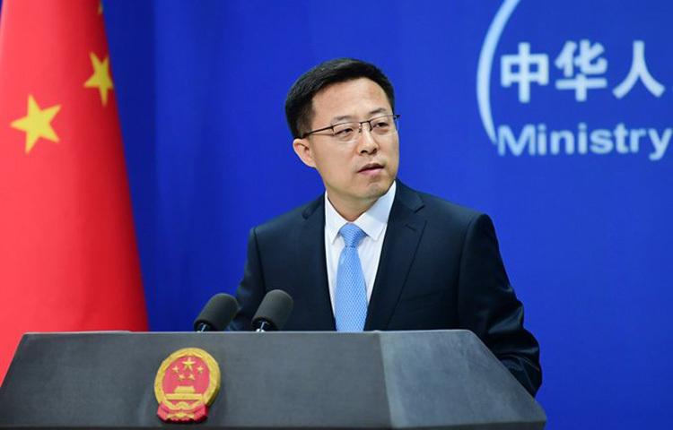 Phát ngôn viên Bộ Ngoại giao Trung Quốc Triệu Lập Kiên tại buổi họp báo hôm 29/5. Ảnh: Xinhua.