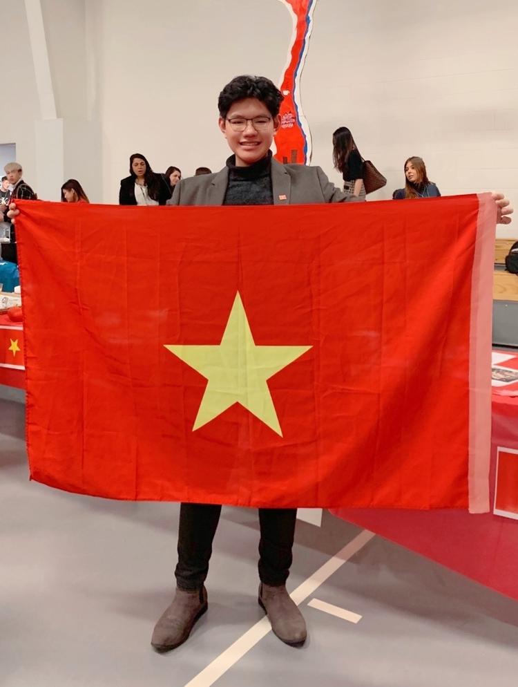 Nguyễn Lê Đông Hải quảng bá văn hóa Việt Nam tại Hội chợ Văn hóa quốc tế ở Học viện CATS Boston, tháng 2/2019. Ảnh: Nhân vật cung cấp