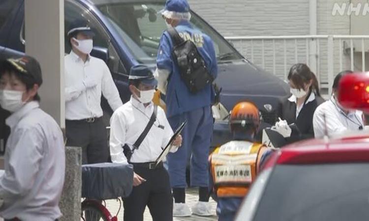 Hiện trường sự việc ởthành phốTakarazuka, tỉnh Hyogo, phía tây Nhật Bản, hôm nay. Ảnh: NHK.