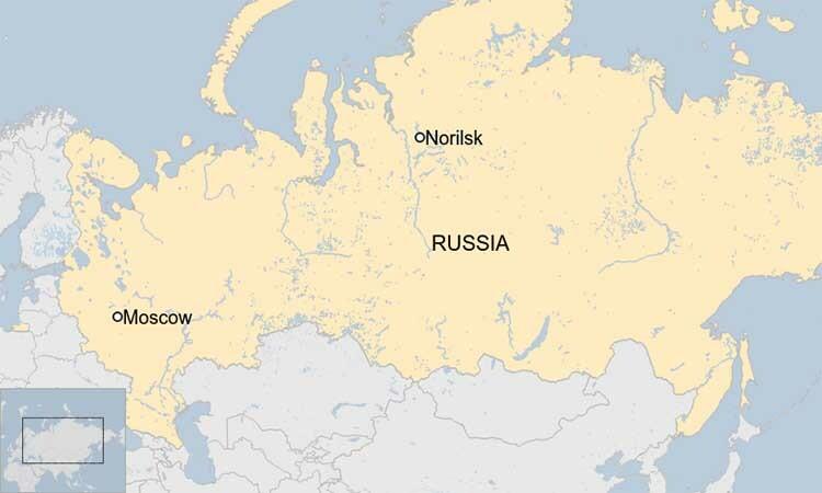 Vị trí thành phố Norilsk thuộc vùng Krasnoyarsk, gần nhà máy nhiệt điện NTEK, nơi xảy ra sự cố tràn dầu hôm 29/5, trên bản đồ Nga. Đồ họa:BBC.