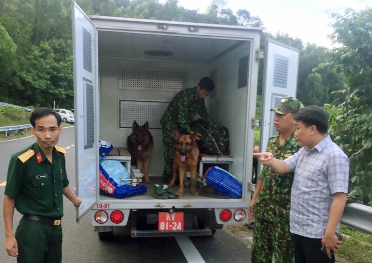 Lực lượng quân đội đưa chó nghiệp vụ đến hiện trường truy bắt Sự. Ảnh: Ngọc Rạng