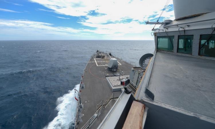 USS Russell di chuyển qua eo biển Đài Loan hôm 4/6. Ảnh: US Navy.