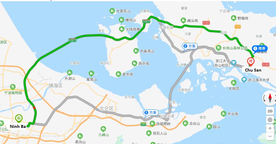 Khoảng cách hai thành phố Ninh Ba và Chu San thuộc tỉnh Chiết Giang (Trung Quốc).Ảnh: Baidu