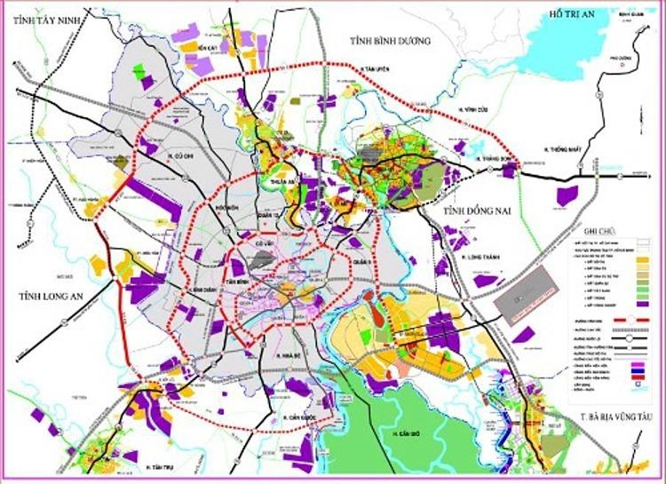 Sơ đồ quy hoạch các tuyến vành đai của TP HCM (đường viền đỏ ngoài cùng là đường vành đai 4).