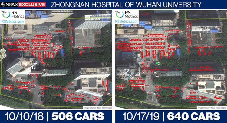 Sự thay đổi số lượng xe trong các bãi đậu tại bệnh viện Trung Nam ở Vũ Hán thay đổi rõ rệt thời điểm tháng 10/2018 và tháng 10/2019. Ảnh: ABC News.