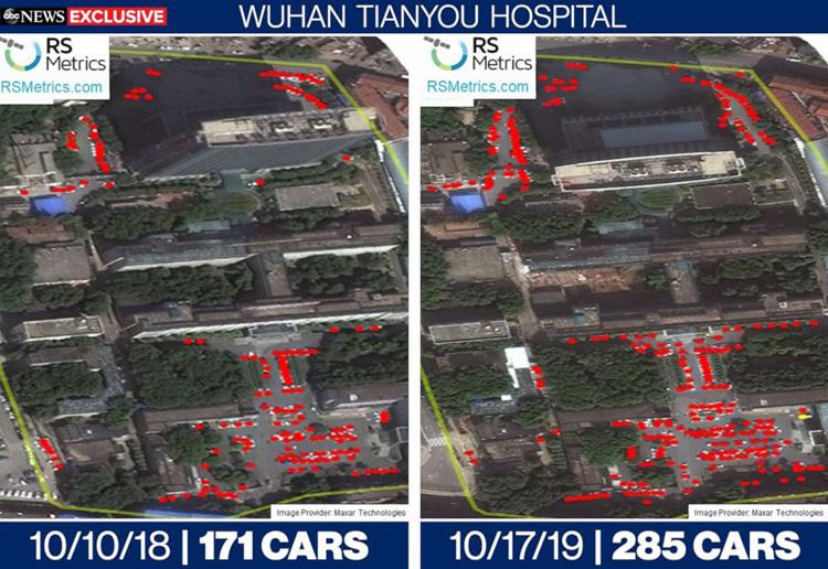 Số lượng xe trong các bãi đậu tại bệnh viện Thiên Hựu thay đổi rõ rệt thời điểm tháng 10/2018 và tháng 10/2019. Ảnh: ABC News.