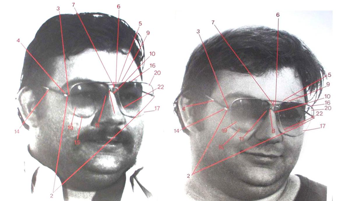 Hơn 20 số đo giúp chuyên gia kết luận hai cặp kính này với cặp kính ở hiện trường là một. Ảnh: Mivision.