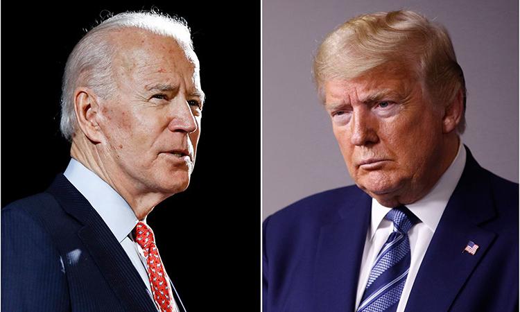 Cựu phó tổng thống Joe Biden (trái) tạiWilmington, bangDelaware,hôm 12/3 và Tổng thống Donald Trump tại Washington, hôm 5/4. Ảnh: AP.