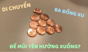 Di chuyển ba đồng xu thế nào để dấu mũi tên hướng xuống?