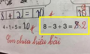 Học trò giải 8 - 3 + 3 = 8, giáo viên đưa ra đáp án là 2