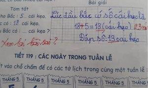Học trò giải có 13 cái kẹo, đáp án của giáo viên là 23