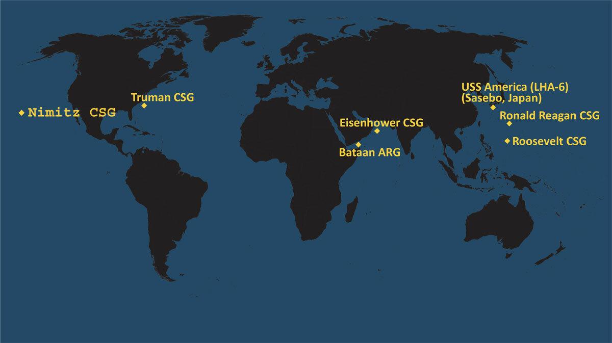 Vị trí các nhóm tác chiến tàu sân bay và tàu đổ bộ Mỹ ngày 8/6. Đồ họa: USNI News.