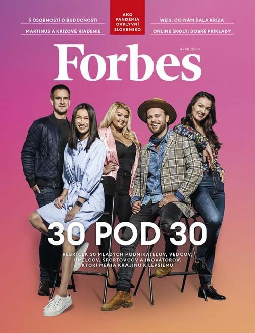 Thảo Hương, thứ hai từ trái sang, cùng một số đại diện của Under 30 trên trang bìa Forbes Slovakia tháng 4/2020. Ảnh: Forbes Slovakia.