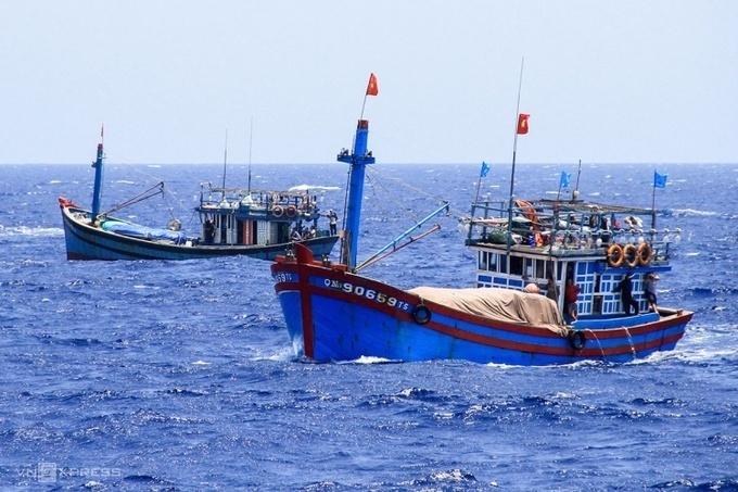 Tàu cá của ngư dân Việt Nam hoạt động ở Hoàng Sa tháng 5/2014. Ảnh:Nguyễn Đông
