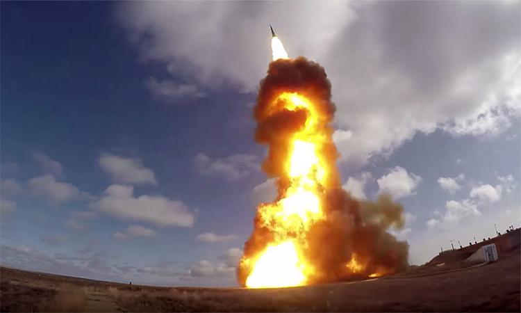 Nga thử tên lửa của hệ thống phòng thủ A-135 tại thao trường Sary Shagan, Kazakhstan, tháng 4/2018. Ảnh: BQP Nga.