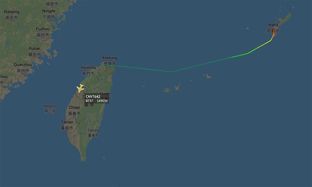 Đường bay của vận tải cơ C-40A thuộc hải quân Mỹ từ Okinawa tới Đài Loan, ngày 9/6. Đồ họa: Twitter/KimagureGolf9.