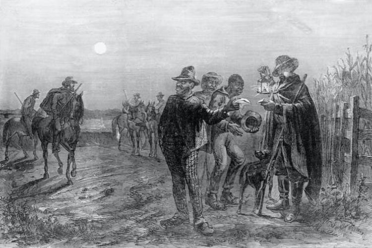 Tranh vẽ lực lượng tuần tra kiểm tra giấy thông hành của nô lệ ở miền nam nước Mỹ thế kỷ 19. Ảnh:Corbis.