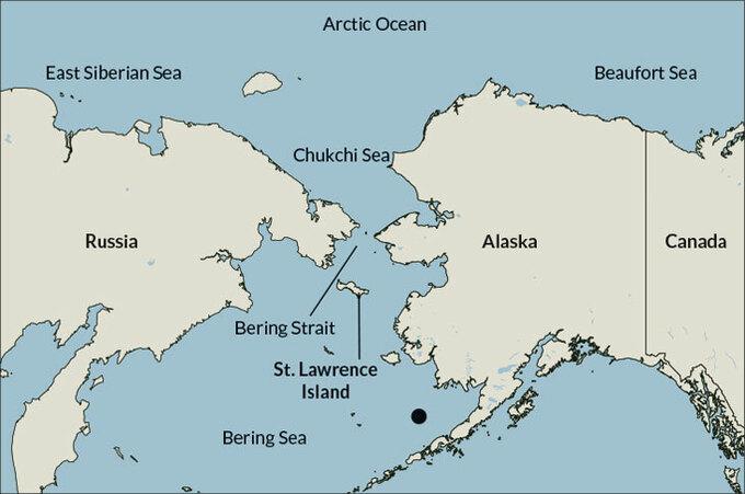 Khu vực biển Chukchi, biển Bering giữa Nga và bang Alaska của Mỹ. Đồ họa: Ocean Sentry.
