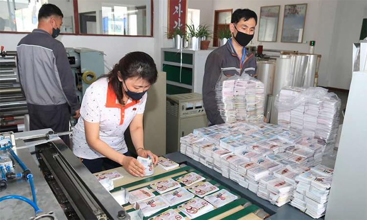 Công nhân Triều Tiên sắp xếp truyền đơn chống Hàn Quốc, ngày 19/6. Ảnh: KCNA.