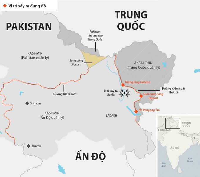 Vị trí binh sĩ Ấn Độ và Trung Quốc ẩu đả chết người tối 15/6. Đồ họa:Telegraph.