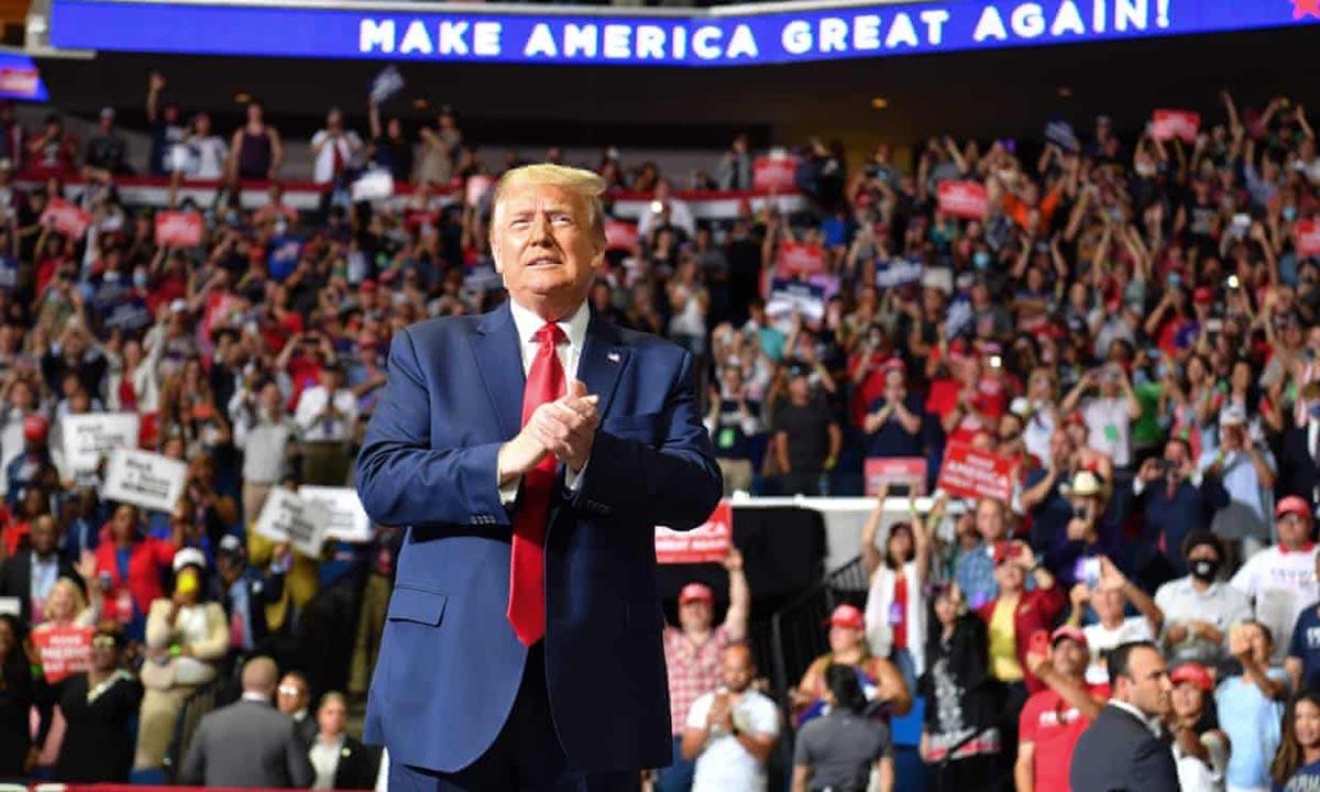 Tổng thống Donald Trump tại sự kiện vận động tranh cử ở Tulsa, bang Oklahoma, hôm 20/6. Ảnh:AFP.