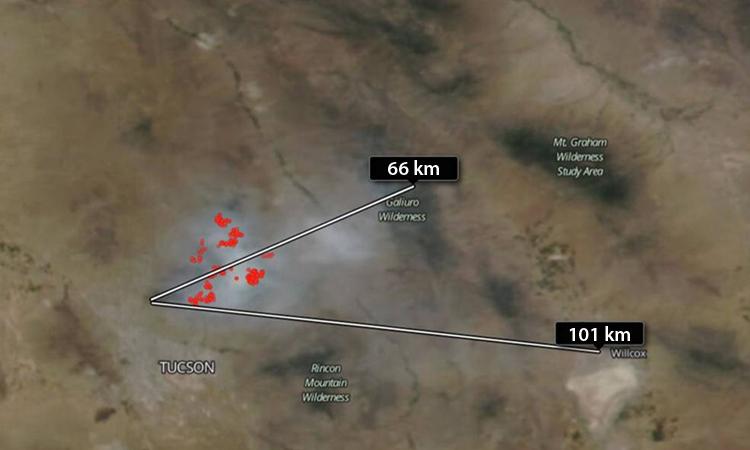 Khói bay xa tới 101 km trong ảnh chụp của vệ tinhSuomi NPP hôm 22/6. Ảnh: NASA.