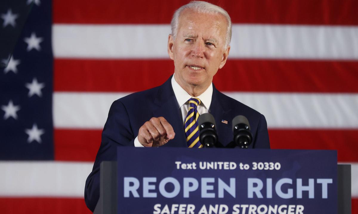 Ứng viên đảng Dân chủ Joe Biden phát biểu tại sự kiện vận động tranh cử ở thành phốDarby, bang Pennsylvania, tuần trước. Ảnh: AP.