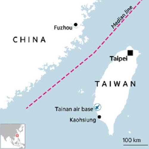 Đường trung tuyến trên eo biển Đài Loan. Đồ họa: FT.