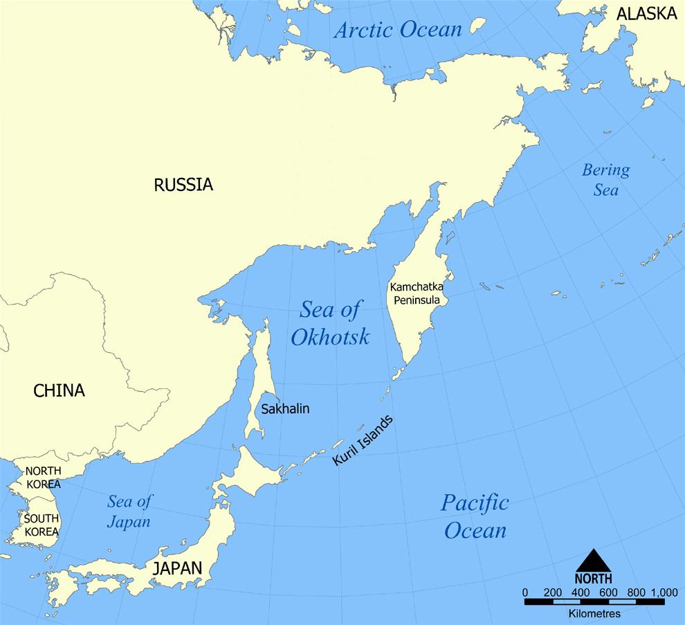 Vị trí Biển Okhotsk và quần đảo Kuril do Nga kiểm soát. Đồ họa: Wikipedia.