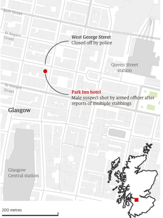 Hiện trường vụ đâm dao ở thành phốGlasgow, vùngScotland, Anh, hôm 26/6. Đồ hoạ; Guardian.