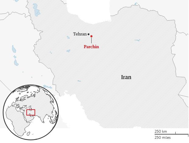 Khu vực xảy ra vụ nổ gần căn cứ quân sựParchin, ngoại ô Tehran, Iran, đêm 25/6. Đồ họa: The Guardian.
