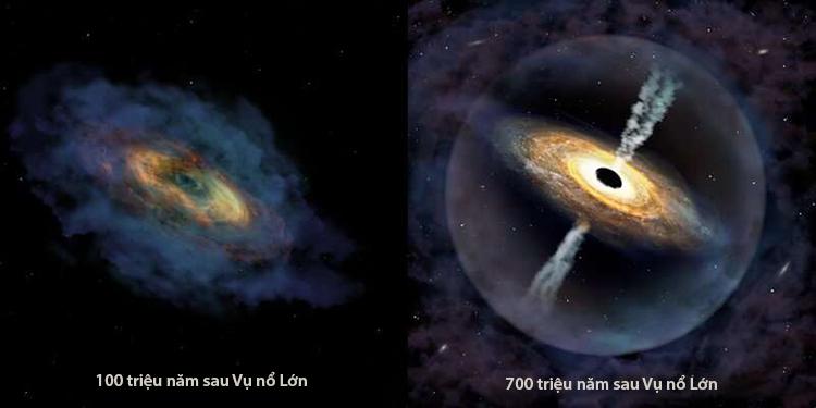 Chuẩn tinhJ1007 + 2115 (bên phải) hình thành từ hố đen hạt giống (bên trái). Ảnh: Phys.