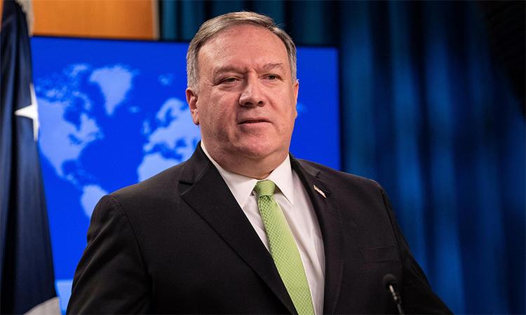 Ngoại trưởng Mỹ Mike Pompeo trong cuộc họp báo tạ thủ đôi Washington, ngày 20/2. Ảnh: Reuters.