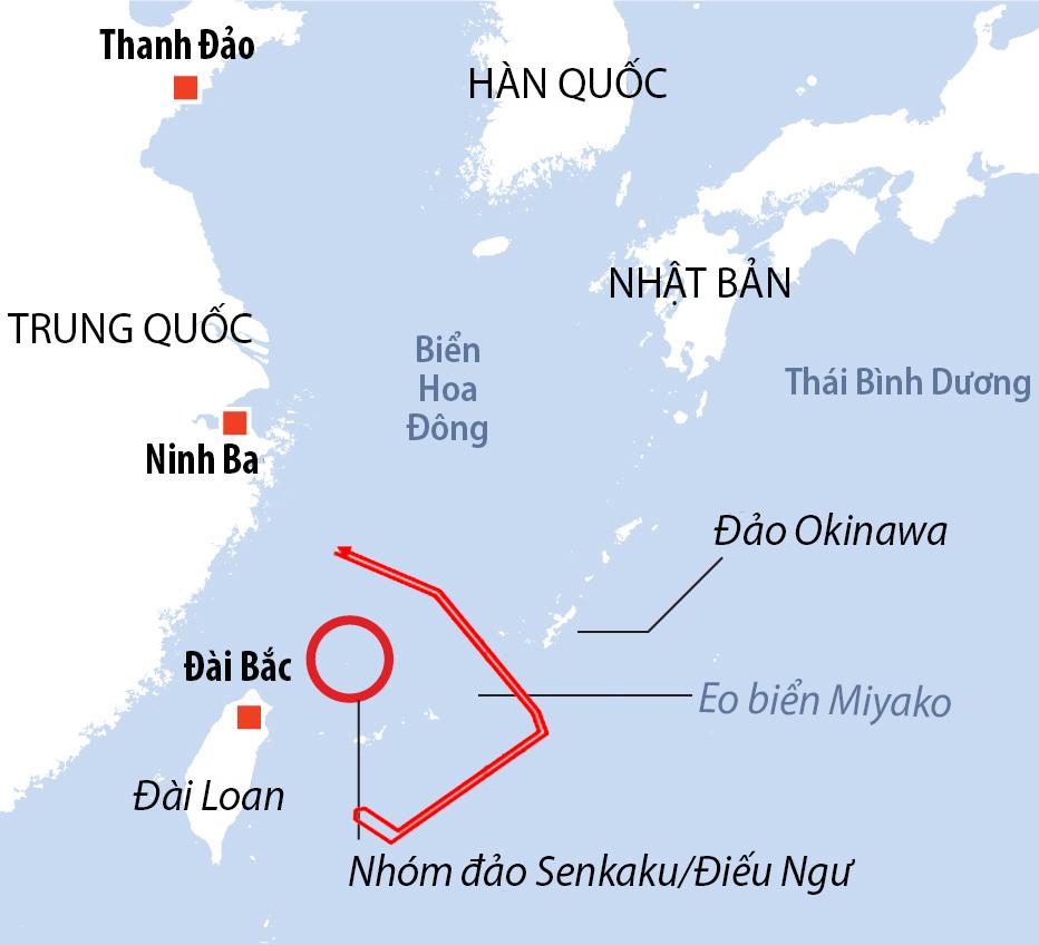 Đường bay oanh tạc cơ chiến lược Xian H-6 của Trung Quốc, ngày 28/6. Đồ họa: Reuters, BPQ Nhật Bản.