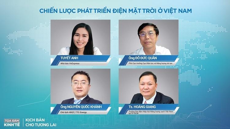 Các diễn giả tham gia tọa đàm Chiến lược phát triển điện mặt trời ở Việt Nam.