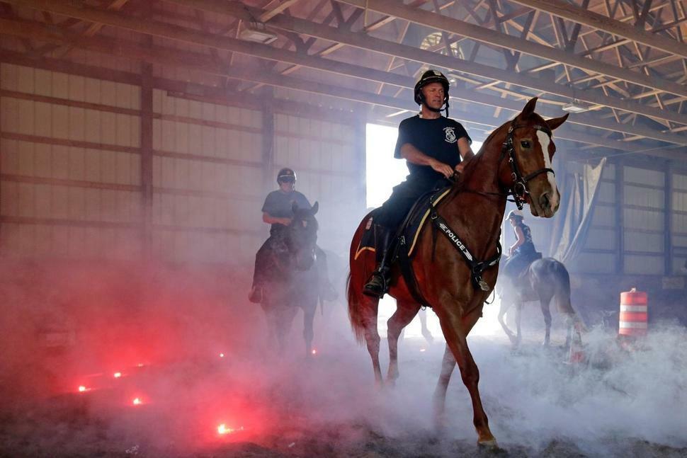 Sĩ quan Jimmy Gravett điều khiển ngựa Lou vượt qua khói và lửa để chuẩn bị cho lễ hội pháo hoa Red, White and Boom mừng lễ Quốc khánh hồi tháng 6/2019. Ảnh: AP.