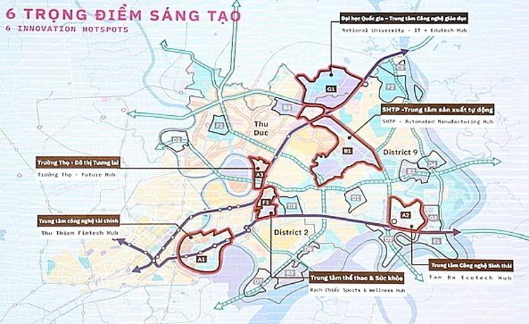 6 khu chức năng của Khu đô thị sáng tạo tương tác cao phía Đông theo phương án thiết kế được UBND TP HCM chọn trong cuộc thi năm ngoái. Ảnh: Hữu Công
