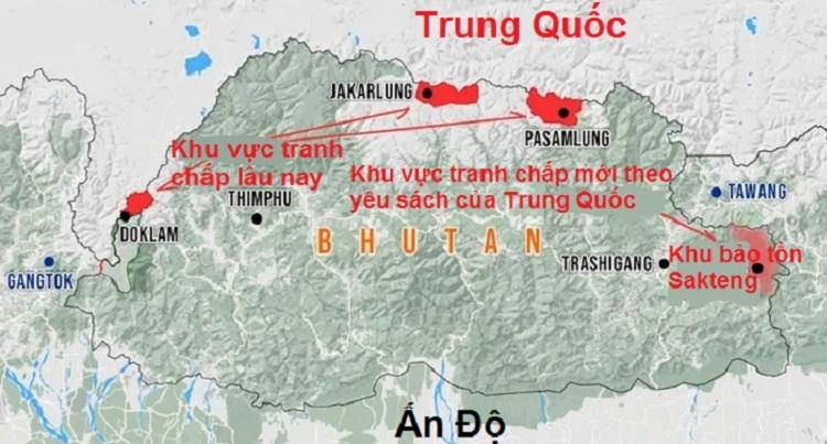 Khu vực tranh chấp lâu nay giữa Trung Quốc và Bhutan cùng khu vực tranh chấp mới theo yêu sách của Trung Quốc. Đồ họa: Strat News Global.