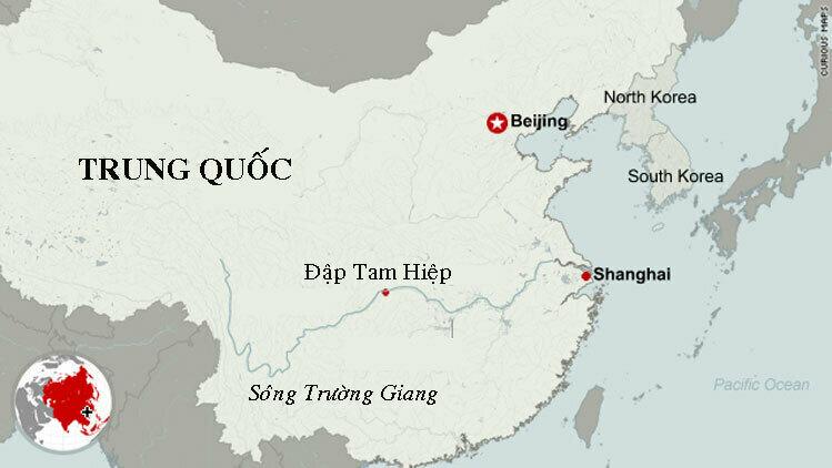 Vị trí đập Tam Hiệp trên sông Trường Giang. Đồ họa: CNN.