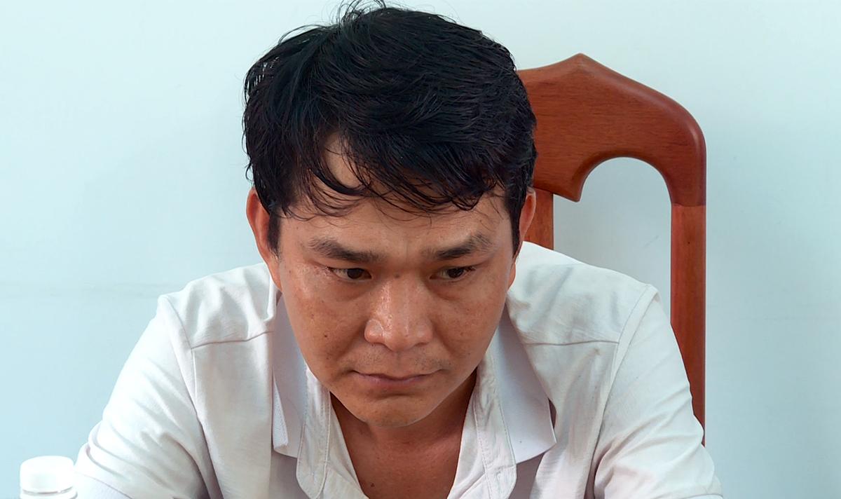 Nguyễn Thanh Sang tại cơ quan điều tra. Ảnh: Công an cung cấp.