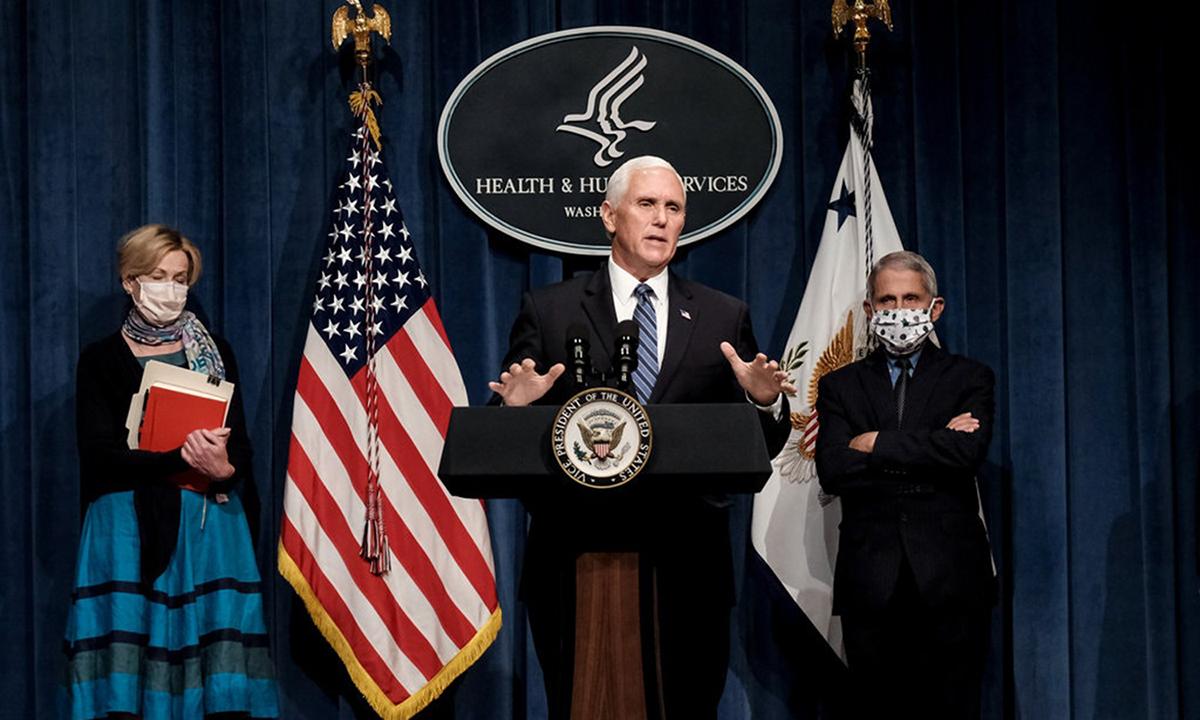 Phó tổng thống Mike Pence phát biểu tại cuộc họp báo về Covid-19 ở Nhà Trắng, hôm 26/6. Ảnh: NYTimes.