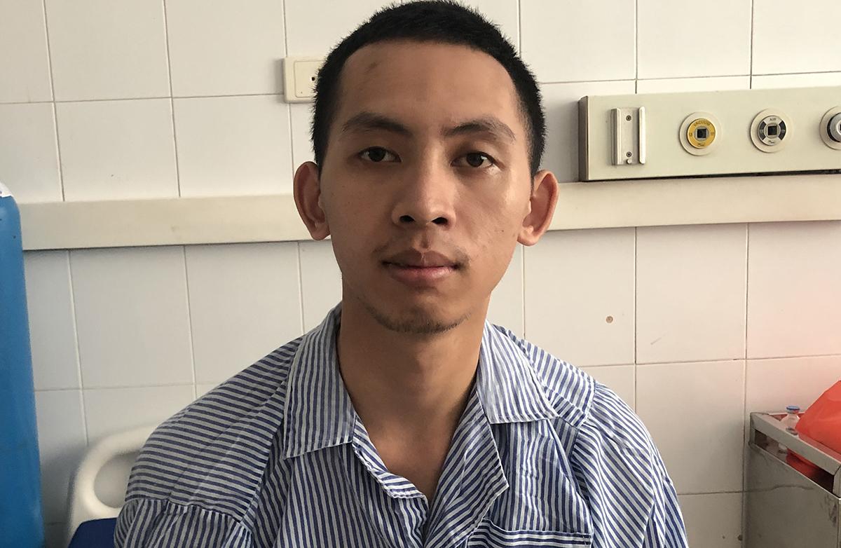 Huy đang điều trị tại Bệnh viện 19/8, ngày 2/7. Ảnh: Phạm Dự.