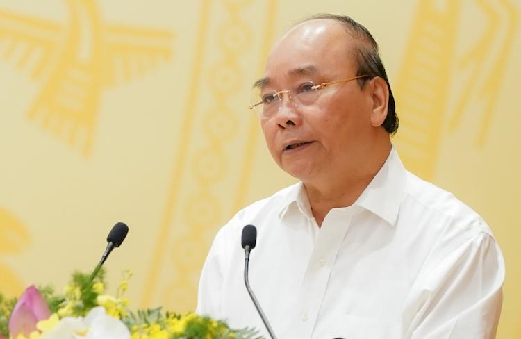 Thủ tướng Nguyễn Xuân Phúc phát biểu tại Hội nghị trực tuyến Chính phủ với địa phương ngày 2/7. Ảnh: VGP