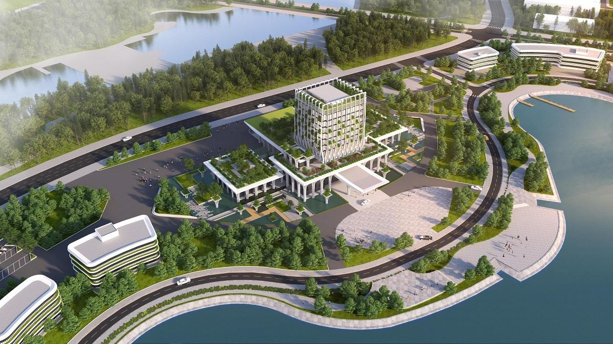 Phối cảnh Khu Nhà điều hành trung tâm Đại học Quốc gia Hà Nội tại Hòa Lạc, Thạch Thất, Hà Nội. Ảnh: VNU
